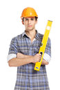Foreman in range hard hat handing leveling instrument half length portrait of isolated on white concept of restoration and Royalty Free Stock Photos
