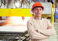 Foreman in the workshop of machinery plant Stock Photo
