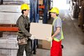 Foremen carrying cardboard box at warehouse two happy Stock Photography