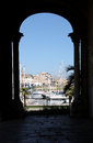 Foreshortened view of the touristic marina palermo from church santa maria della catena sicily portrait cut Stock Photography