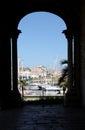 Foreshortened view of the touristic marina palermo from church santa maria della catena sicily portrait cut Stock Photography