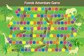 Forest adventure game with ladder and pitch holes Stock Image