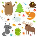 Forest animal insect set. Bear hare fox moose owl ladybug Royalty Free Stock Photo