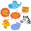 Forest animals faces icons set Royalty Free Stock Images