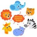 Large set icons of Funny animals