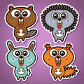 Forest animals funny vector stickers collection of Royalty Free Stock Image