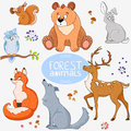 Forest animals illustration set of cute of the Royalty Free Stock Photo