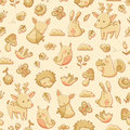 Forest animals pattern seamless with doodles of Stock Photo