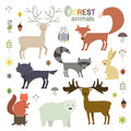 Forest animals set in flat style. Vector Illustration.