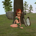 Forest elf girl and butterfly d digital render of a cute a in a fantasy woodland Stock Photography