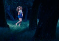 Forest fairy dancing in woods Stock Images