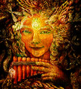 Forest fairy shaman with panflute and crystal, detailed colorful illustration Royalty Free Stock Photo
