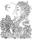 Forest fairy with wreath on head hugging swan in flower for anti antistress coloring page high details isolated white Stock Photo