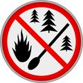 Forest fire warning sign, vector illustration Royalty Free Stock Photo