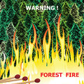 Forest fire, wildfire burning tree in red and orange color vector Royalty Free Stock Photo