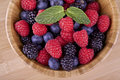 Forest fruits berries blueberries raspberries blackberries in wooden container on background Stock Photo
