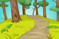 Forest glade cartoon background vector illustration eps Stock Photography