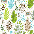 Forest leaves seamless vector pattern. Spring or summer nature background in colors of blue, green, beige and white