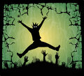 The forest in the horror night hands halloween for halloween Royalty Free Stock Image