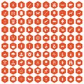 100 forest icons hexagon orange