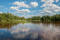 Forest lake with reflection of trees and sky with clouds Royalty Free Stock Photo