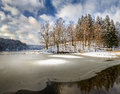 Forest lake in winter of the woods landscape Royalty Free Stock Photography