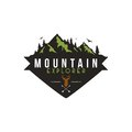 Forest, Mountain Adventure, Deer Hunter Badge Vector Logo Royalty Free Stock Photo