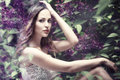 Forest nymph in lilac flowers composite photo Stock Images