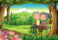 A forest with an old couple illustration of Royalty Free Stock Photos