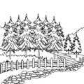 Forest pathway coloring page