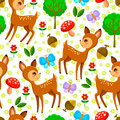 Forest pattern seamless with baby deer and elements Stock Photo