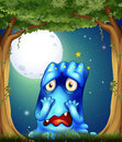 A forest with a sad blue monster illustration of Stock Photography
