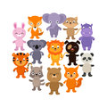 Forest, savanna and jungle baby animals. Cartoon vector character set