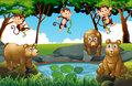 Forest scene with bears and monkeys