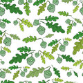 Forest seamless pattern. Bright acorns and juicy green oak leave