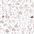 Forest seamless pattern with cute bear, fox, hedgehog, birds, bees, butterflies, mushrooms, owl, snail, deer, hear, and