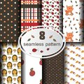 Forest seamless patterns with hand drawn animals, flowers and plants.