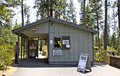 Forest service info station for lava river cave the us information at the entrance to in oregon Stock Photography