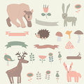 Forest set with cute bear rabbit deer hedgehog bird fox ribbons mushrooms and flowers in cartoon style Royalty Free Stock Photo