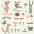 Forest set with cute bear rabbit hedgehog bird fox owl ribbons snail mushrooms and flowers in cartoon style Stock Images