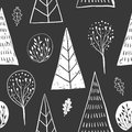 Forest simple sketh drawn hand seamless pattern with tree, foliage, coniferous, spruce, fir. For wallpapers, web