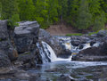 Forest, Stone, Falls, and Rapids Royalty Free Stock Images