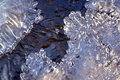 Forest stream frozen with ice closeup background Stock Photos