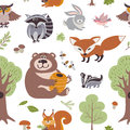 Forest summer plants and woodland animals vector seamless pattern