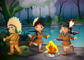 A forest with three young indians illustration of Stock Image