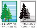 Forest tree logo a icon of a lake scene Stock Photography