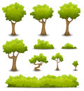 Forest trees hedges and bush set illustration of a of cartoon spring or summer other green elements bonsai foliage Stock Image
