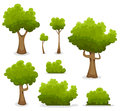 Forest trees hedges and bush set illustration of a of cartoon spring or summer other green elements foliage Stock Photos