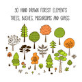 Forest trees illustration set. Collection of 30 hand drawn trees, pines, bushes, mushrooms and grass in doodle style. Isola