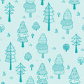 Forest trees seamless vector pattern. Botanic design texture in colors of blue
